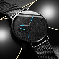Fashion Mens Minimalist Watches Ultra Thin Men Business Blac...