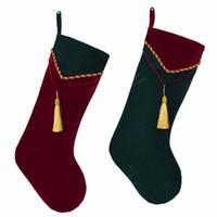 Rosso Verde velluto calza con fiocco decorazione Socks Calza di natale Nuovo arrvial Set di 2 pezzi