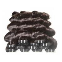 Großhandel Brasilianische Körperwelle Nicht-Remy-menschliche Haarbündel Bündel Gewebt 1kg 20bundles Lot Natürliche schwarze Farbe 100% Menschliches Haar kann Farbe ändern
