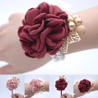Hot Sale Artificial Roses Wedding Supplies Bride Bridesmaid Wrist Flower Corsage Gold Beading Red Pink Simulation Flowers