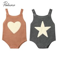 2020 Baby Spring Autumn Clothing Newborn Infant Baby Boy Girl Knitted Bodysuit Jumpsuit Sleeveless Outfits Heart Star Clothes