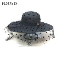 PLOERMIN 2020 Nuovo Dot Mesh Cappello per il sole grande bordo di estate delle signore del cappello di paglia dei cappelli della gioventù per la donna elegante dei cappelli di Sun Beach Cap
