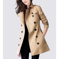 Casacos de trench de feminino Casaco de alta qualidade Mulheres 2021 Primavera Outono Windbreaker Moda Dupla Breasted Correia Curto Sólido Color Overcoat