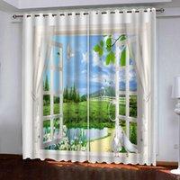 Salon Yatak odası Ev Dekorasyon Özel Perdeler için pencere perde dışında 3d Perdeler Dijital Baskı Manzara