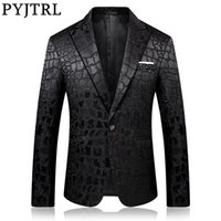PYJTRL Trend Мужского Качества вскользь жаккард Пиджаки Blazer Мужчина Вест костюм Homme CX200725
