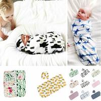 Neugeborene Säuglingsbaby Floral Swaddle Ins Turban Hut Weiche Schlafende Decke Wrap Set Baby Schlafsack KKA7986