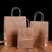sacchetto di carta logo personalizzato 100% riciclabile shopping regalo Kraft busta di carta kraft del Brown con manico