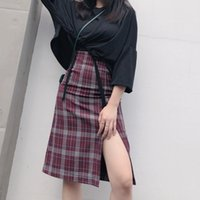 New Women Vintage High Slit Wine Red Plaid Skirt Spring A-Line Mid Long Package Hip Skirt Slim Casual Skirts Shorts Plus Size