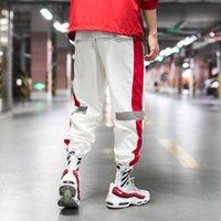 New Verão fina listra Side Pants Hip Hop Reflective Pant cordão Sweat Calças Homens 5XL Harem Joggers