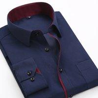Robe pour hommes Shirts Qisha Arrivées Chemise occasionnelle Homme à manches longues Style coréen Homme formel Patchwork Bureau blanc Navy Tops Blouse M