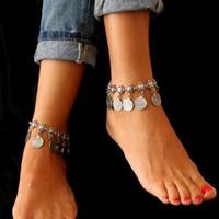 Женщины ножного Bohemian металл кисточка ножной Роскошные Шарм Монета лодыжка браслет для женщин ювелирных изделий Летнего стиль