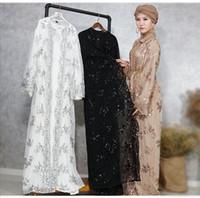 Abaya Müslüman Kadınlar Hırka Uzun Maxi Elbise Açık Robe Kaftan Dubai Jilbab Pullu Dantel Nakış İslam Kimono Türkiye Orta Ea