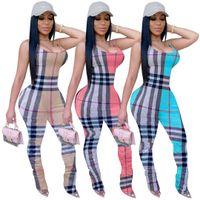 Kadınlar tasarımcı artı boyutu tasarımcı yaz seksi baskı Jumpsuit pantolon tulum kepçe boyun kolsuz bodysuit kapriler ekose