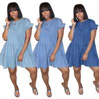 إمرأة ملابس الصيف الدنيم الأزرق اللباس مطوي أزياء الأكمام فضفاضة اندلع فساتين ألف خط نساء حزب زائد حجم الملابس vestidos دي موهير