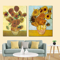 Van Gogh Girassol dourado do poster Floral Vase Wall Art Pictures Pintura Wall Art para sala Home Decor (No Frame)
