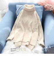 여성 스웨터 한국어 오피스 레이디 터틀넥 아가일 느슨한 배트 윙 슬리브 풀오버 두꺼운 카키 블루 녹 레드 크림 화이트