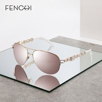 FENCHI mulheres óculos escuros de grife moda marca do vintage olho-de-rosa espelho óculos de sol senhoras gato óculos de sol feminino