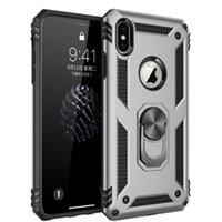 À prova de choque Armadura caso do iPhone para X 7 8 6s Magnetic anel de metal Stand Holder tampa do telefone do Coque para iPhone e Samsung A20 A50 S20u