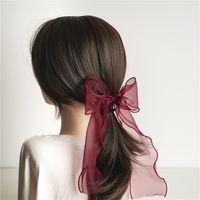 2020 كليب بنات جديدة الرباط الأورجانزا القوس الكبير شعر النساء الطويل الملون الشريط الرباط دبوس الشعر الكورية الأطفال أغطية الرأس إكسسوارات الشعر V078