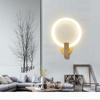 applique luna rotonda LED PMMA acrilico lampada anello di base in legno apparecchio di illuminazione design moderno soggiorno luce ristorante dell'hotel camera da letto vanità