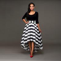 Frauen eleganter schwarzer formaler Partei-Cocktail-gestreiftes Kleid Langes Kleid 2 die Sätze Langärmelig top + gestreifter Rock
