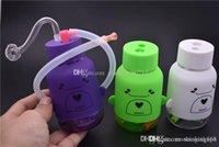 Neue Mini-Reise-Bong-Taschenkunststoff-Cartoon-Whale-Bong 10mm dicke Pyrex-Mini-Öl-Rig-Hand-Wasserleitungen zum Rauchen mit 10m-Ölbrennerschlauch