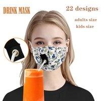 22 estilos face maks adultos crianças bebendo máscara com buraco para a máscara desenhador de palha máscara impermeável máscara de boca de algodão máscaras rosto capa