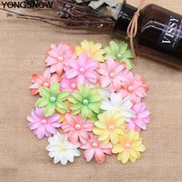 20 50pcs 5cm Artificial Silk Flower Head With Pearl For Wedding Birthday Party Decoration DIY Wreath Craft Sewing Cloth Supplies