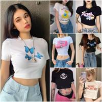 Fashion Women's T-shirt Alta Qualidade Mulher Sexy das Mulheres Verão Tops Casuais senhoras Slim Manga Curta Roupas curtas 43 Estilo