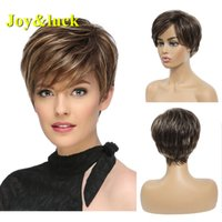 Joy&luck Short Straight Synthetic Wigs for Women Brown Mix B...