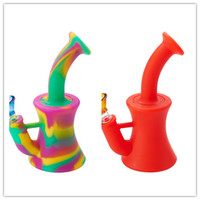 Mini silicone Beaker Bong Dab Rigs Water Pipe Bong Incassable Oil Rig avec silicone Downstem 14mm Glass Bowl en stock FY2263