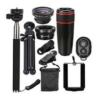 Teleskop-Kit Travel Kit 10 in 1 Universal-Telefon-Kamera 8 X Zoom-Objektiv für Smartphone Teleobjektiv Weitwinkel Fisheye Makro Stativ