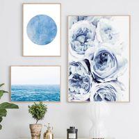 İskandinav Poster Blue Ocean Kanvas Çiçek Duvar Manzara Poster Modern Resim Soyut Wall Art Ev Dekorasyonu Boyama Baskı Boyama