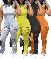 Frauen sexy Overalls ärmellos Spitze lange Hosen Strampelhöschen Ripped plissiert gestapelt Hose Art und Weise sports Bodysuit Onesies plus size Kleidung