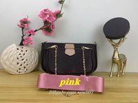 M44823 3 pièces / set sacs de créateurs  multi-accessoires de favoris L vieille pochette dames de style en cuir fleur sacs à main sac bandoulière épaule