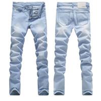 Erkek Yüksek Kalite Açık Mavi Skinny Jeans İlkbahar Yaz Slim Fit Denim Jeans Erkek Pamuk Stretch Denim Pantolon Kovboy Pantolon