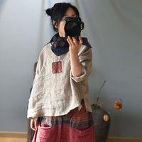 المرأة t-shirt جذل جذل المرأة خمر التصحيح القمصان الكتان الأصلي ملابس الصيف 2021 فضفاضة النمط الصيني بلون أنثى