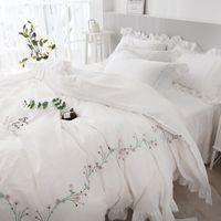 roupa de cama tamanho tampa rainha rei egípcio edredon de algodão estilo coreano cama set meninas princesa TUTUBIRD-Branco rosa bordados
