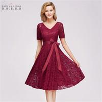 Babyonlindress Comfortable Plus Size Short Lace Evening Dress Elegant V Neck Short Sleeves Evening Gown Sashes Robe De Soiree Courte CPS1146