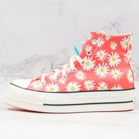 Scarpe 1970 di All Star Chuck 70 Daisy Orange Flower tela delle donne degli uomini scarpe casual scarpe piattaforma Heighten 1970 High Top Sneaker Outdoor Sports