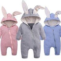 2019 Baby-Herbst-Winter-Kleidung Neugeborenes Baby-Mädchen-3D-Häschen-Ohren Body Long Sleeve Kleidung Kaninchen Zip Overall Warm Overall T200721