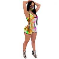 Printed dünne Weste Frau Strampler Mode Damen-Kleidung-Sommer-reizvolle Frauen Jumpsuits Ärmel 3D
