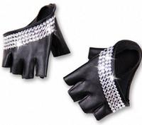 Toptan-kadın moda yarım palmiye yarı parmak pu deri Yapay elmas eldiven erkek parmaksız hiphop kişilik diy eldivenler # r4zk