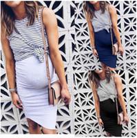 Annelik Elbiseler Kadınlar Sahte İki Adet Gebelik Elbise Yaz Çizgili Patchwork Casual Hemşirelik Emzirme