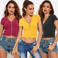 المرأة t-shirt المرأة المحاصيل الأعلى مثير الخامس الرقبة واحدة الصدر الخيط midriff-baring قصيرة الأكمام الملابس حجم الآسيوية