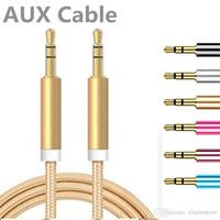 Kulaklık, Hoparlör, cep telefonu için erkek için 2020 yeni 1M aux kablo 3 ft Metal Unbroken Kumaş Örgü Ses Aux Araç Uzatma Kablosu 3.5mm erkek
