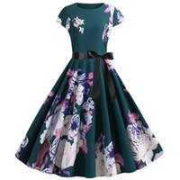 로브 핀까지 빈티지 팜므 2020 여름 드레스 여성 짧은 소매 O 목 50 년대 60 년대 파티 로커 사무실 드레스 플러스 사이즈 칙에 대한