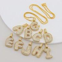 Unisex Fashion Gold-Silber-Farben-A-Z Bling CZ Cubic Blase Brief hängende Halskette mit Kette Box-Nizza Geschenk für Männer Frauen