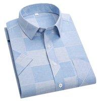Мужские повседневные рубашки Aoliwen бренд весенние высокое качество клетчатая печать полосы рубашки с короткими рукавами деловые дышащие мужчины