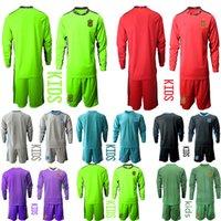 2020 2021 키즈 긴 소매 스페인 국립 축구 팀 골키퍼 축구 유니폼 Arrizabalaga de Gea Kit Jersey 홈 멀리 키트 세트 유니폼